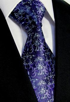 Lavender Wedding Necktie - Mens Tie in Black & Purple - Silk Floral Paisley Gift Sharp Dressed Man, Well Dressed Men, Paisley, La Mode Masculine, Mens Attire, Tie Accessories, Tie Styles, Dapper Men, Tie And Pocket Square
