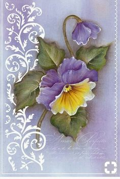 Pansies Mix Media China Painting, Tole Painting, Fabric Painting, Art Floral, Pinterest Pinturas, Scrapbooking, One Stroke Painting, Diy Canvas, Painting Patterns