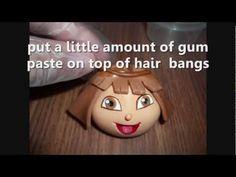 how to make Dora's face? with gum paste. for a Dora's cake - YouTube