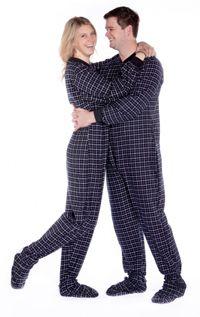 Big Feet Pajamas Adult Black Check Flannel One Piece Footy $44 - SHOP http://www.thepajamacompany.com/store/16737.html?category_id=11470