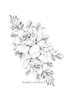 Flower Tattoo Stencils, Flower Tattoo Drawings, Flower Tattoo Designs, Hip Tattoos Women, Leg Tattoos, Arm Tattoo, Stomach Tattoos, Tattos, Beautiful Flower Tattoos