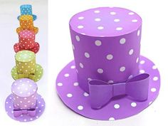 No-sew polka dot mini top hat for parties. Simple to assemble PDF templates/patterns. Print & make as many mini top hats as you like. Instant Download PDF!