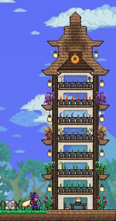 Terraria House Design, Terraria House Ideas, Terraria Tips, Flower Tower, My Flower, Minecraft Posters, Tower Of Power, Sims House Design, The Legend Of Heroes