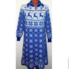 Купить Вязаное платье-свитер Новогоднее с оленями и норвежским орнаментом-2 - норвежский орнамент