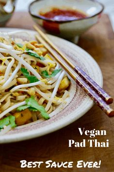 The Best Vegan Pad Thai with crispy tofu, rice noodles, veggies, peanuts, cilantro and the Best Vegan Pad Thai Sauce ever, made with tamarind paste. Delicious and Easy 30 minute dinner!