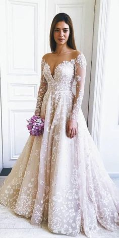 36 Gorgeous A-Line Wedding Dresses � a line wedding dresses with long sleeves illusion neckline lace floral misshayleypaige #weddingforward #wedding #bride
