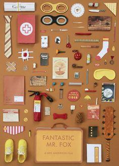 Fantastique Mr Fox A2 affiche, illustrations originales par Jordan Bolton