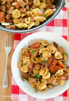 Sausage, Balsamic Tomatoes and Onion with Orecchiette | Slimming Eats - Slimming World Recipes