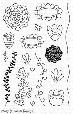 "MFT STAMPS: Doodle Blossoms (4"" x 6"" Clear Photopolymer Stamp Set) This 18 piece set includes Doodle Blossoms: - Flowers (10) ranging from 1 3/8"" x 1 3/8"" to 3/8"" x 5/16"" - Stems (2) 1/8"" x 2 3/4"", 1/"