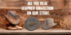 Vest Jacket, Leather Jacket, Leather Cowboy Hats, Western Hats, Hat Shop, Leather Accessories, Real Leather, Website, Guys