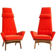 Adrian Pearsall Pair of Slim Jim Chairs   From a unique collection of antique and modern lounge chairs at https://www.1stdibs.com/furniture/seating/lounge-chairs/