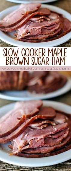 Slow Cooker Maple Brown Sugar Ham A slow cooker ham that is juicy, flavorful, and so simple! The maple, brown sugar and pineapple flavors are the perfect combination for a tasty glaze. Crock Pot Recipes, Slow Cooker Recipes, Cooking Recipes, Cooking Ideas, Roast Recipes, Baked Ham Recipes, Apple Recipes, Vegetarian Recipes, Crock Pot Slow Cooker