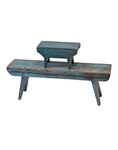 Blue Benches: footstool, 7 1/2″ h, 13″ w; one fireplace bench with canted bootjack ends, both with apron edges, fire stool in dark blue, 12″ h, 35″ w.