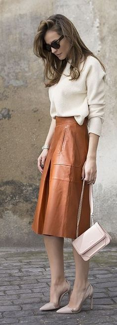 Camel Leather Skirt Outfit Idea by LadyAddict