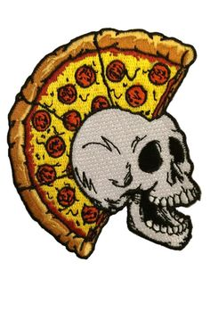 pizza mohawk on skull - CRUST PUNK PATCH -- from Pizza Brigade