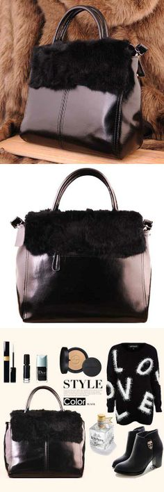 Women's #black genuine leather #satchel bags business office lady style design