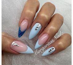 Pastel blue nails with swarovski's