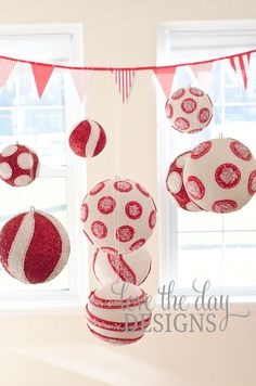 Felt Peppermint Christmas Polka Dot Ball...  These would look great above your table at your Christmas Party.. Can you say CHEAP way to decorate.