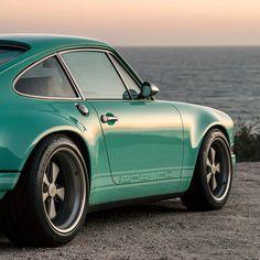 Malibu Car, Porsche Electric, Custom Porsche, Singer Vehicle Design, Sea Foam, Green