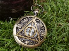 Harry Potter and the Deathly Hallows antique pocket watch necklace - small daisy hollow pattern Vintage pocket watch - custom pocket watch on Etsy, $2.76