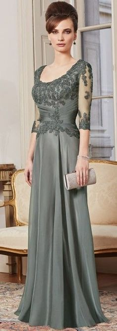 2015 New Custom Made A Line 3/4 Sleeve Beaded Lace Floor Length Evening Gown Mother Of The Bride Dresses Plus Size $99:
