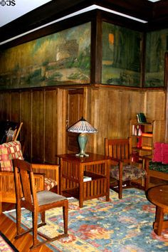 Murals + Arts & Crafts-style furniture in lobby of Roycroft Inn. East Aurora, NY.
