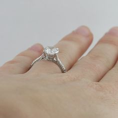 Vintage Style Engraved Solitaire 14K White Gold by OroSpot on Etsy