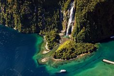 Scenic Flights Queenstown to Milford Sound & Mount Cook. Cruise Milford Sound on a sightseeing tour seeing waterfalls, dolphins, seals and other wildlife Honeymoon In New Zealand, Milford Sound, Boat Tours, South Island, Honeymoon Destinations, Wilderness, Waterfall, Adventure, World