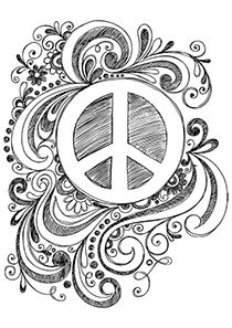 Shaded Peace Doodle coloring page