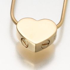Double Chamber Slide Heart Pendant Cremation Jewelry in Gold