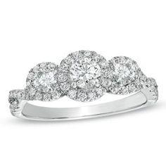 1 CT. T.W. Diamond Past Present Future Ring in 14K White Gold