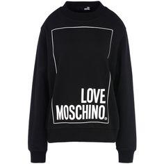 Love Moschino Sweatshirt (1 995 ZAR) ❤ liked on Polyvore featuring tops, hoodies, sweatshirts, black, logo sweatshirts, cotton sweatshirts, long sleeve sweatshirt, logo top and long sleeve cotton tops