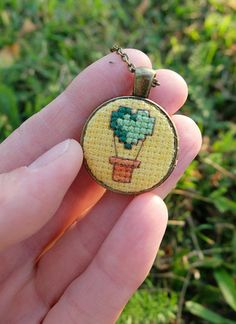 Green baloon embroidery necklace Cross stitch pendant Heart