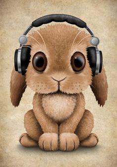 Cute Baby Bunny Dj Wearing Headphones Art Print by jeffbartels - Anke G. - Cute Baby Bunny Dj Wearing Headphones Art Print by jeffbartels artwork - Cute Baby Bunnies, Cute Baby Animals, Cute Babies, Cute Animal Drawings, Cartoon Drawings, Cute Drawings, Anime Animals, Cute Illustration, Big Eyes