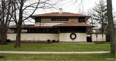 Two Level Modern Frank Lloyd Wright Prairie School Architecture In Elmhurst