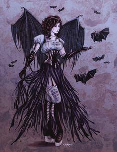 Bat Goddess Print  Fantasy Art  Romantic Gothic Art  by Shakoriel, $9.00  see their online store here:  http://www.etsy.com/shop/Shakoriel?ref=seller_info