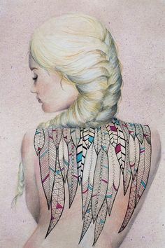 Brenda Montalvan (Peru) - Feather Tattoo   Acrylics and Pastels on Paper