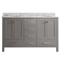 Vinnova Gela 60 in. W x 22 in. D x 35 in. H Vanity in Grey with Marble Vanity Top in White with Basin