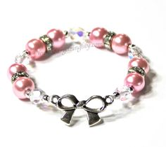 Little Girls Bow Bracelet with crystals by stargazinglily on Etsy, $6.75