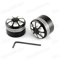 Black CNC Edge Cut Front Axle Nut Cover Bolt Kit For Harley Touring Softail FLTR