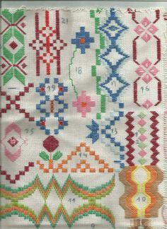 Neşe'nin gözdeleri Kasuti Embroidery, Swedish Embroidery, Embroidery Sampler, Ribbon Embroidery, Cross Stitch Embroidery, Cross Stitch Patterns, Bargello Needlepoint, Needlepoint Stitches, Needlework