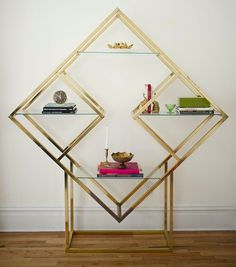 Obsessed with this vintage brass shelving unit - I'd love it in stainless steel Brass Shelving, Home Furniture, Furniture Design, Geometric Furniture, Miami Art Deco, Geometric Shelves, Geometric Wall, Home Decor Inspiration, Decoration
