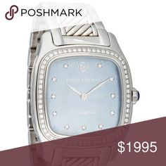 """Yurman Thoroughbred Watch with diamonds, blue face Ladies' stainless steel 32mm David Yurman Thoroughbred Watch with diamond set bezel, blue mother of pearl dial, diamond index hour markers, silver-tone hands, Swiss made quartz movement, water resistant, stainless steel cable bracelet and push-button deployment. Includes original box and extra chain link to enlarge the width of the strap.  Case: 32mm with 0.56 carats of diamonds    Measurements: Strap- Length 6.0"""", Width 16mm; Case- Length…"""