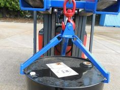 A Grab-O-Matic Crane Slung Vertical Drum Sling, this is a basic 3-legged single drum handler for occasional drum handling use. available @ aayag.com