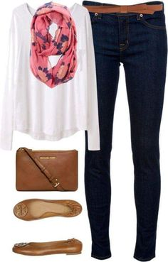 Match a Full Sleeves White Tee with a Bright PInk Scarf and Deep Blue Jeans