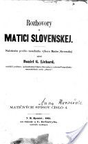 Rozhovory o Matici slovenskej