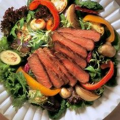 Beef Steak & Roasted Vegetable Salad - Pan-grilled beef steak, sliced and served with a medley of roasted vegetables on a bed of salad greens, dressed with Italian dressing. Roasted Vegetable Salad, Vegetable Salad Recipes, Roasted Vegetables, Veggies, Diabetic Recipes, Low Carb Recipes, Cooking Recipes, Healthy Recipes, Steak Recipes