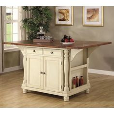 Coaster Country Wood Kitchen Island in Brown and Buttermilk Finish 102271 -- Check out  a lot more at the image link. (This is an affiliate link). Kitchen Furniture, Kitchen Decor, Fine Furniture, Bedroom Furniture, Kitchen Ideas, Furniture Dolly, Outdoor Furniture, Space Kitchen, Rustic Furniture