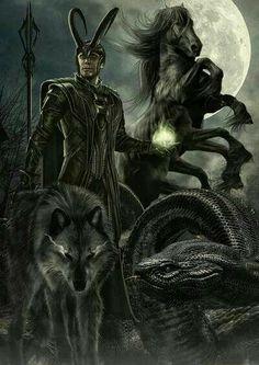Loki, Jormundr, Sleipner, and Fenrir.