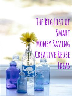 The Big List: 49 Smart, Money-Saving Creative Reuse Ideas We get excited about stylish, functional, Art And Craft, Diy And Crafts, Recycled Crafts, Vie Simple, Baby Food Jars, Reduce Reuse Recycle, Get Excited, Vintage Cards, Helpful Hints